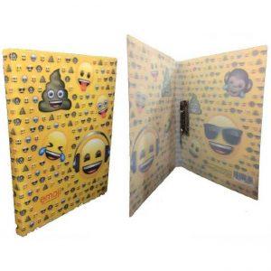 Carpeta escolar con imagenes de emojis