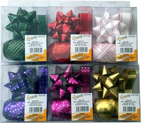 linea moño para envolturas de regalo tipo metalico navidad
